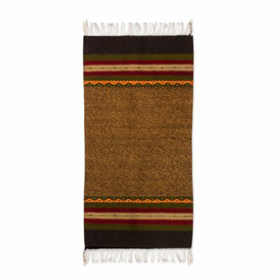 Authentic Zapotec Earth Tone Hand-Woven Brown Area Rug