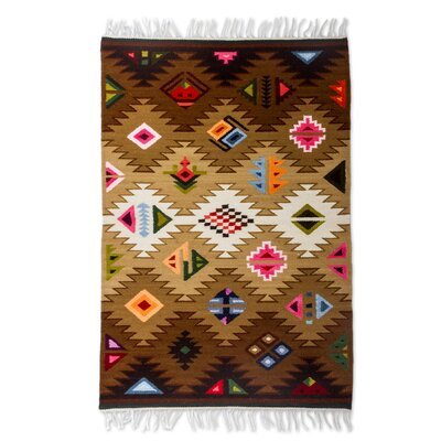 Geometric Hand-Loomed Brown Area Rug