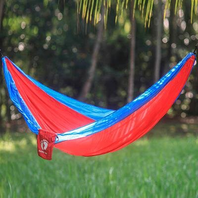 Single Parachute Nylon Camping Hammock Color: Red/Blue
