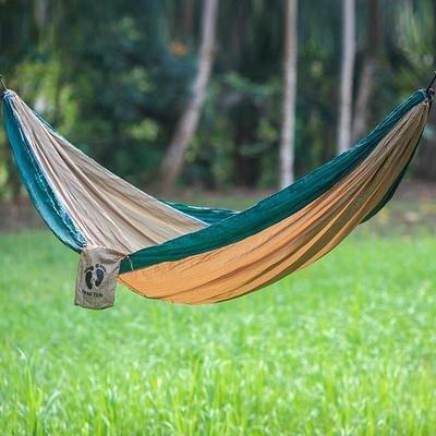 Single Parachute Nylon Camping Hammock Color: Brown/Green