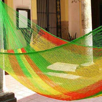 Mayan Single Nylon Camping Hammock Color: Tropical Passion