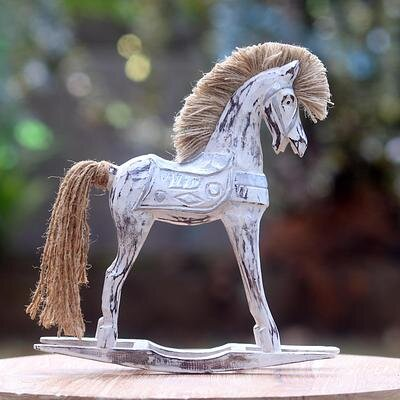 Younker Horse Figurine with Jute Mane and Tail 0A9B6BFA52104697A28D79469C233D03