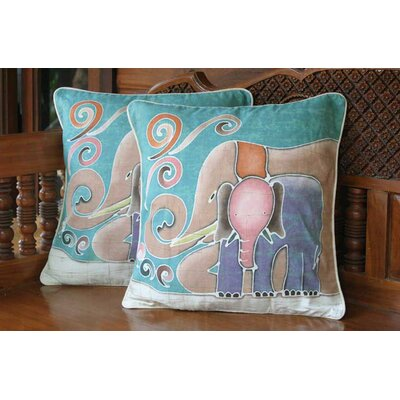 Mom and Baby Batik Elephant Cotton Cushion Covers