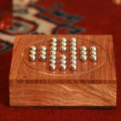 Wood Steel Marble Solitaire Board Game 155241