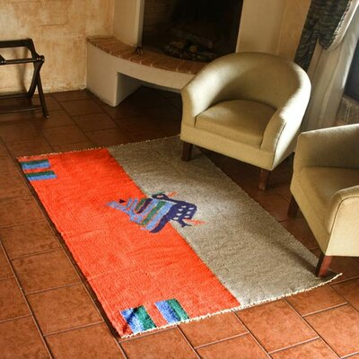 Animal Themed Hand-Loomed Gray/Orange Area Rug Rug Size: 2 x 3
