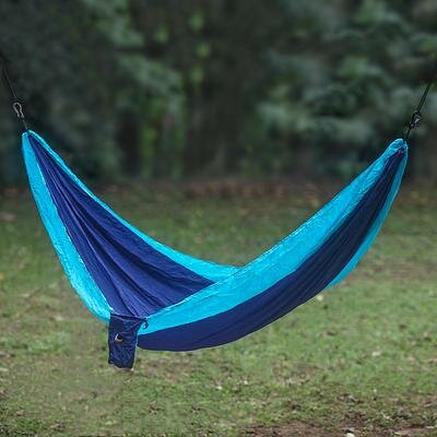 Parachute Portable Nylon Camping Hammock Color: Blue/Turquoise, Size: Double