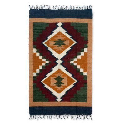 Geometric Hand-Woven Orange/Green Area Rug Rug Size: 4 x 6