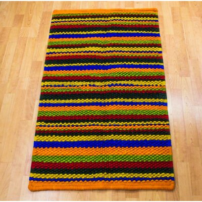 Striped Hand-Woven Orange / Yellow Area Rug