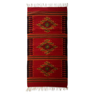 Oaxaca Zapotec Hand-Loomed Crimson Area Rug