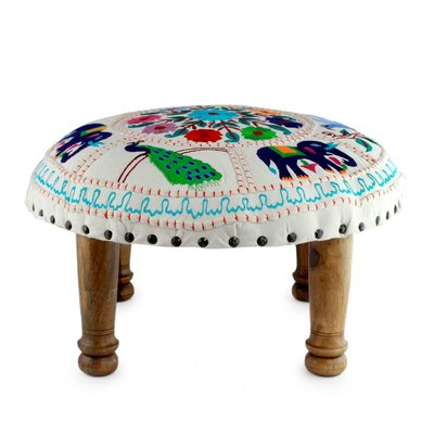 Floral Fauna Embroidered Ottoman