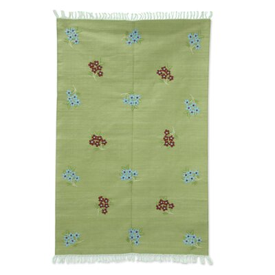 Floral Beauty Cotton Hand-Crafted Green Area Rug