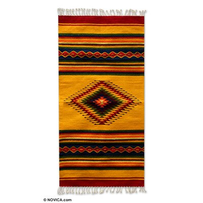 Weare Artisan Crafted Geometric Summer Sun Hand-Woven Mexican Naturally Dyed Wool Home Decor Area Rug