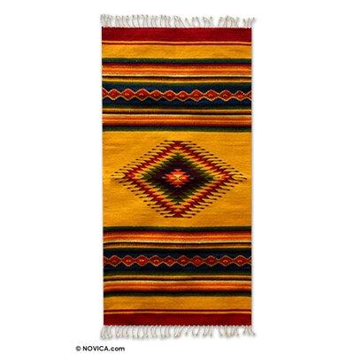 Zapotec Hand-Woven Yellow Area Rug