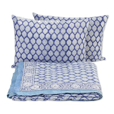 2 Piece Iris Beauty Block Printed Cotton Quilt Set