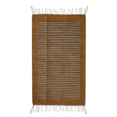 Zapotec Hand-Woven Brown Area Rug