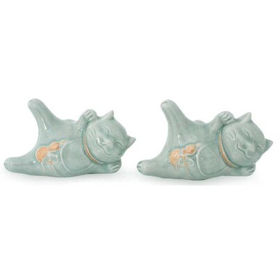 Celadon Lucky Cat at Play Ceramic Figurine 181665