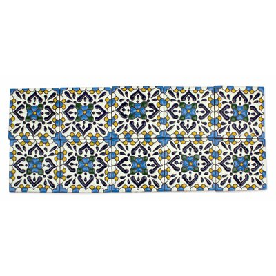 4.1 x 4.1 Ceramic Turquoise Talavera Decorative Tile