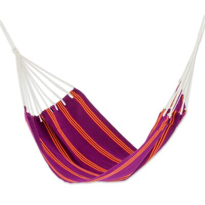 Hand-Woven Single Tree Hammock Color: Boysenberry Volcano
