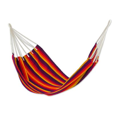 Hand-Woven Single Tree Hammock Color: Volcanic Flame