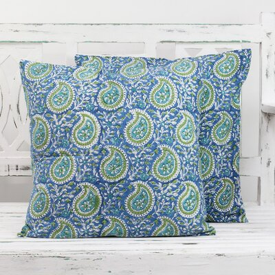 Paisleys 100% Cotton Pillow Cover Color: Cerulean/Olive