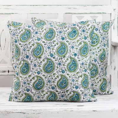 Paisleys 100% Cotton Pillow Cover Color: Turquoise/Blue