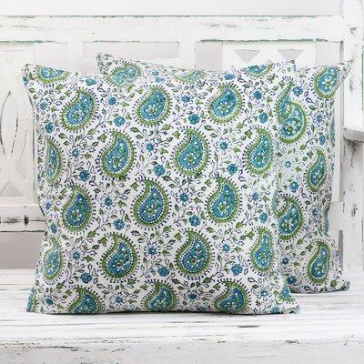 Paisleys 100% Cotton Pillow Cover Color: Turquoise/Blue