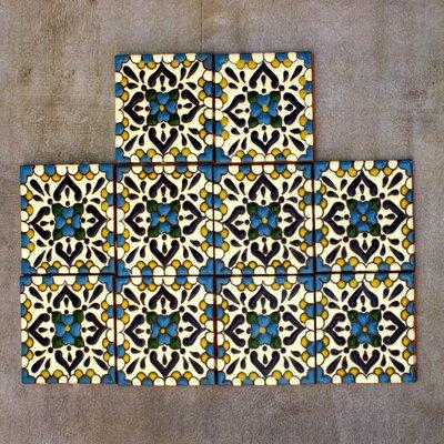 4.1 x 4.1 Ceramic Turquoise Talavera Decorative Tile