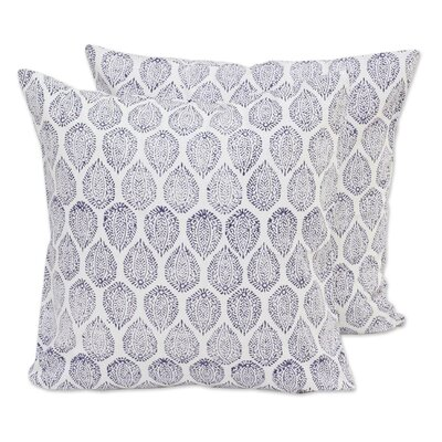 Violet Vines 100% Cotton Throw Pillow Cover