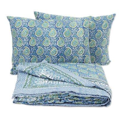 Cerulean Paisleys Block Printed Quilt Set