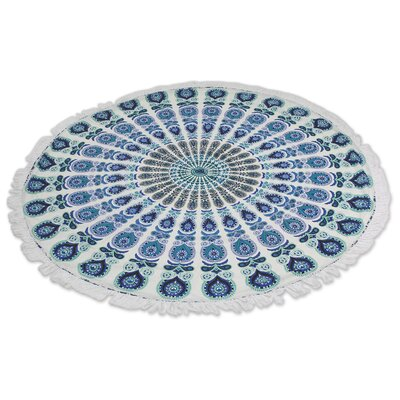 Mandala Wonder Hand-Woven Cotton Blue/ White Area Rug