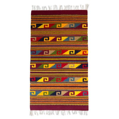 Natures Hand Loomed Red/Yellow Area Rug