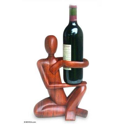 Buckler Wood 1 Bottle Tabletop Wine Bottle Rack