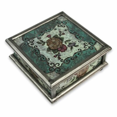 Vintage Blossom Reverse Painted Glass Jewellery Box AGGR7847 40716887