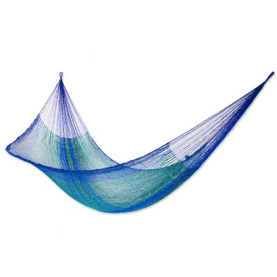 Maya Artists of the Yucatan Nylon Tree Hammock Color: Cool Lagoon, Size: 7.2 X 12.8