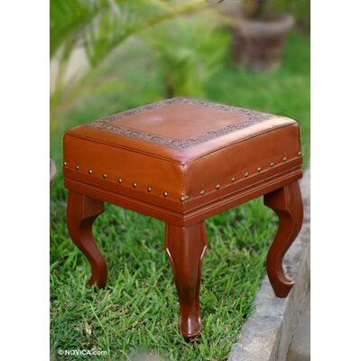 Saugatuck Inca Frieze Leather Ottoman