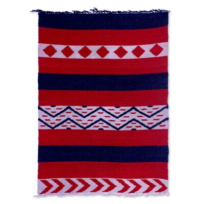 Reddington Guatemala Diamonds Hand-Woven Wool Red Area Rug