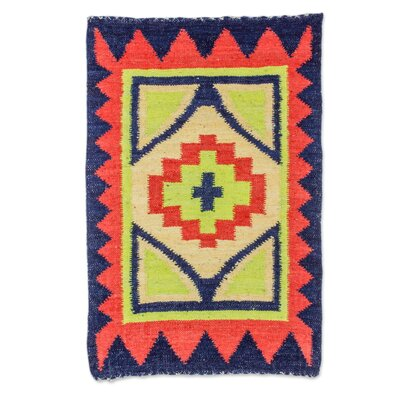 Rickmansworth Fiery Star Hand-Woven Wool Orange/Blue/Green Area Rug
