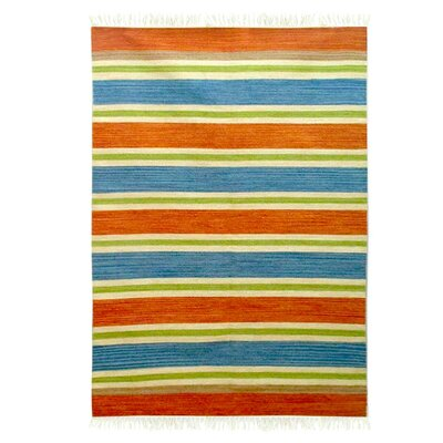 Lancaster Bold India Hand-Woven Wool Blue/Green/Orange Area Rug