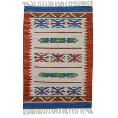 Richborough Geometric Dhurrie Hand-Woven Wool Beige Area Rug