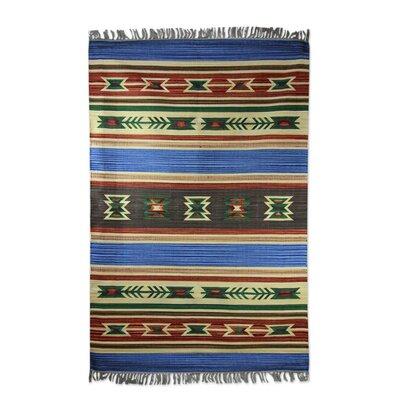 Muldowney Dhurrie Indian Hand-Woven Cotton Blue Area Rug