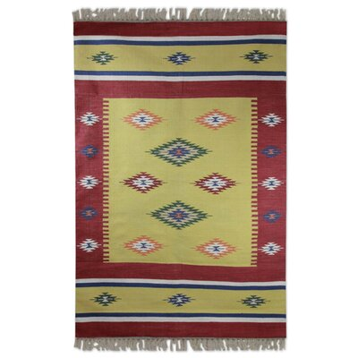 Muldrow Dhurrie Morning Star Hand-Woven Cotton Red/Yellow Area Rug