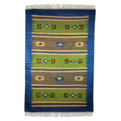 Redick Love of Nature Dhurrie Hand-Woven Wool Blue/Green Area Rug