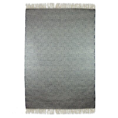 Redmond Mesmerizing Diamonds Dhurrie Hand-Woven Wool Gray Area Rug
