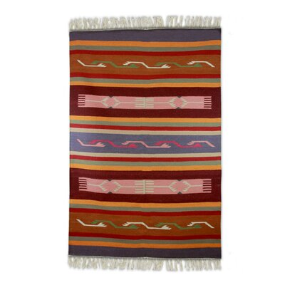 Redmont Dhurrie Hand-Woven Wool Orange/Red Area Rug