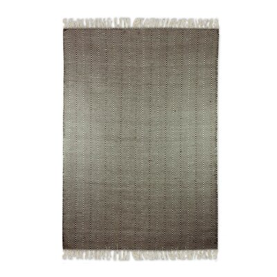 Blough Zigzag Dhurrie Hand-Woven Wool Brown/White Area Rug