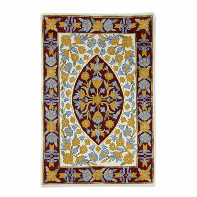 Rayborn Stitch Hand-Woven Wool Yellow/Blue Area Rug