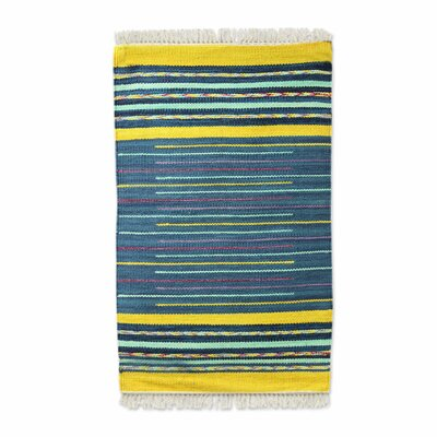 Raymer Sky Over Kutch Hand-Woven Cotton Blue/Yellow Area Rug