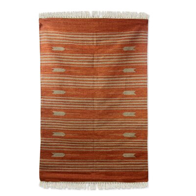Raymond Arrows Hand-Woven Wool Brown Area Rug