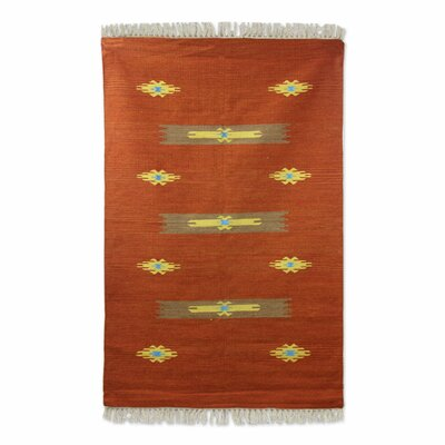 Rayners Sand Crab Dhurrie Hand-Woven Wool Brown Area Rug