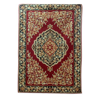 Randall Mughal Garden Hand-Woven Wool Beige/Red Area Rug